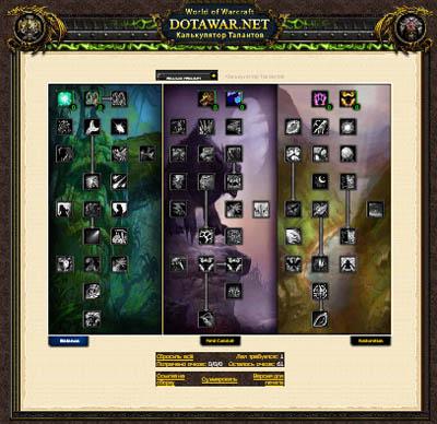 Калькулятор Талантов World of Warcraft